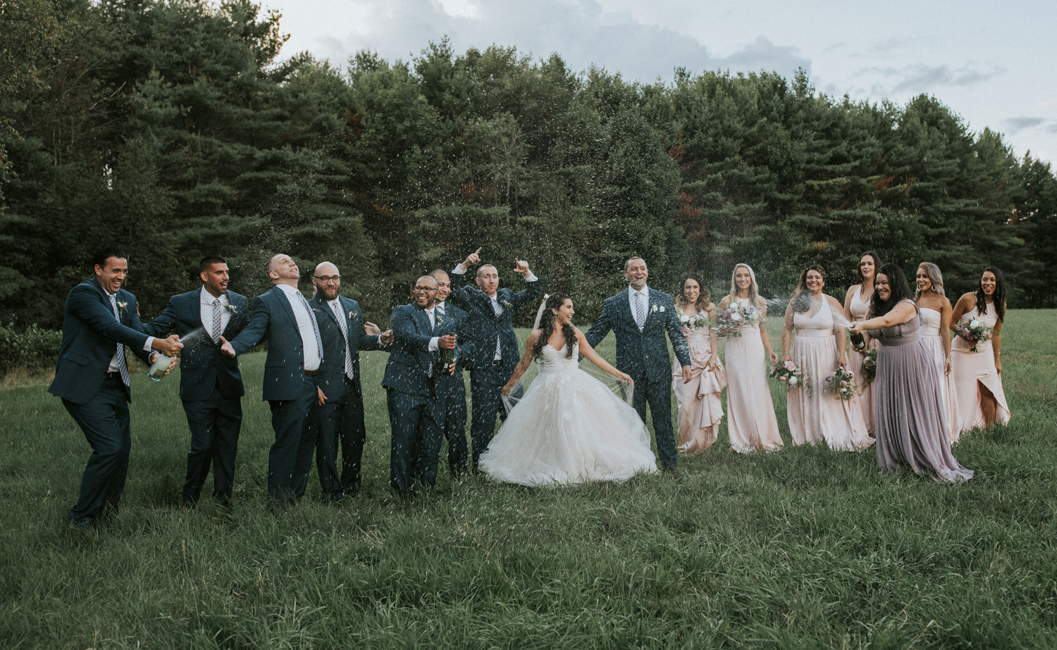 Flanagan farm maine wedding bridal party bridesmaids groomsmen boutonnieres bouquets blush.jpg