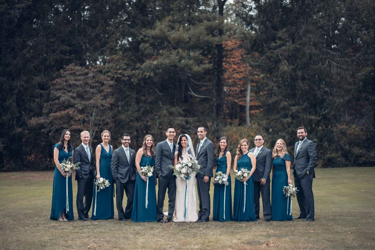 Woodstock Connecticut wedding bridal party groomsmen bridesmaids bouquets blue green anenome.jpg