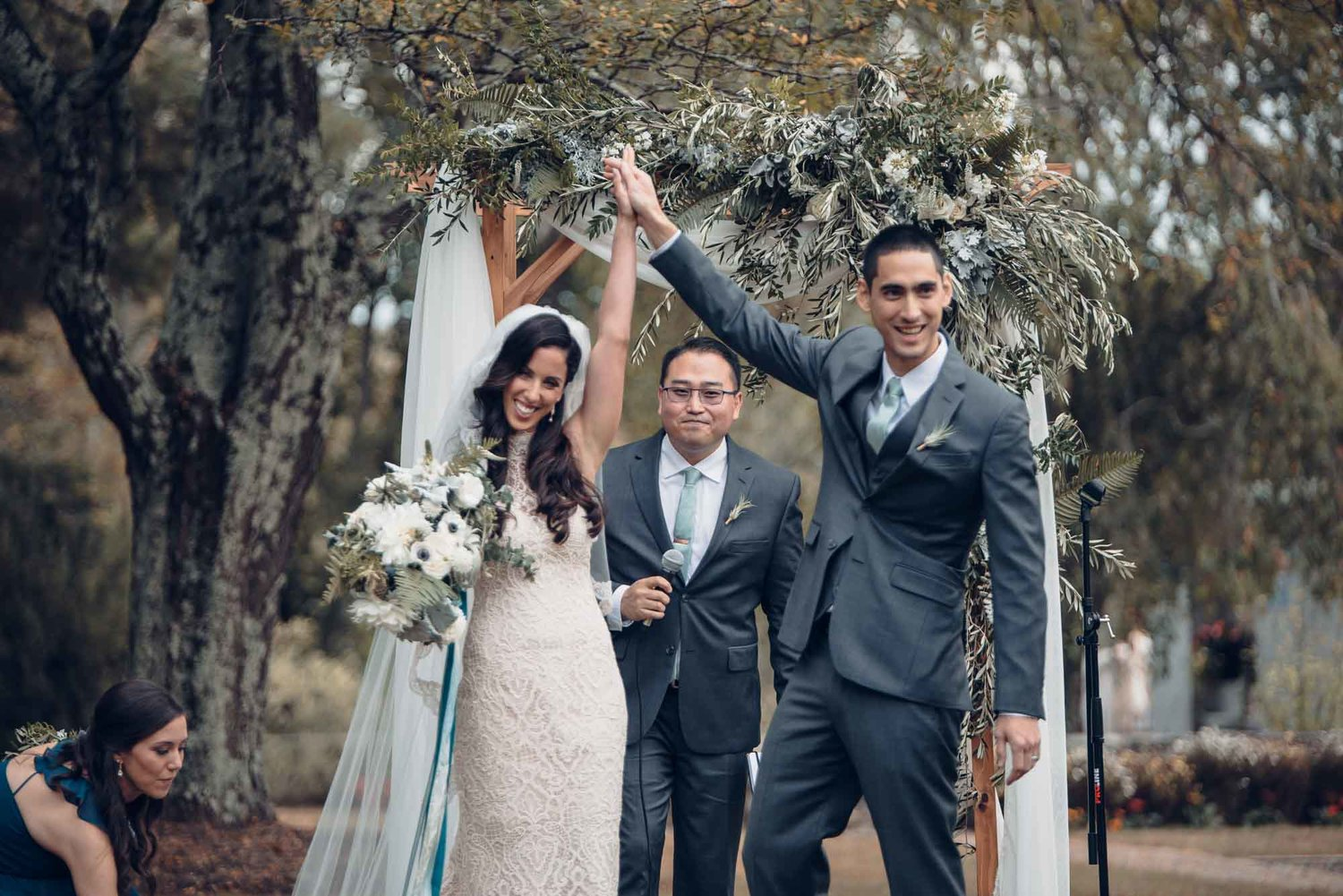 Woodstock Connecticut wedding ceremony arbor chuppah draping greens blue white olive ferns.jpg