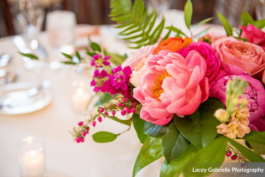 New Haven lawn club wedding centerpiece pink orange colorful tropical coral charm peonies roses.jpg