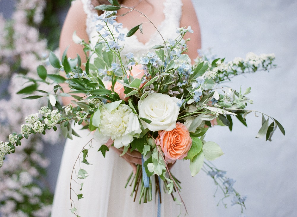 wedding bridal bouquet coral white blue roses peonies spirea greens.jpg