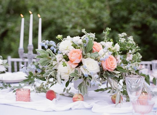 wedding centerpiece compote white green coral blue roses peonies.jpg