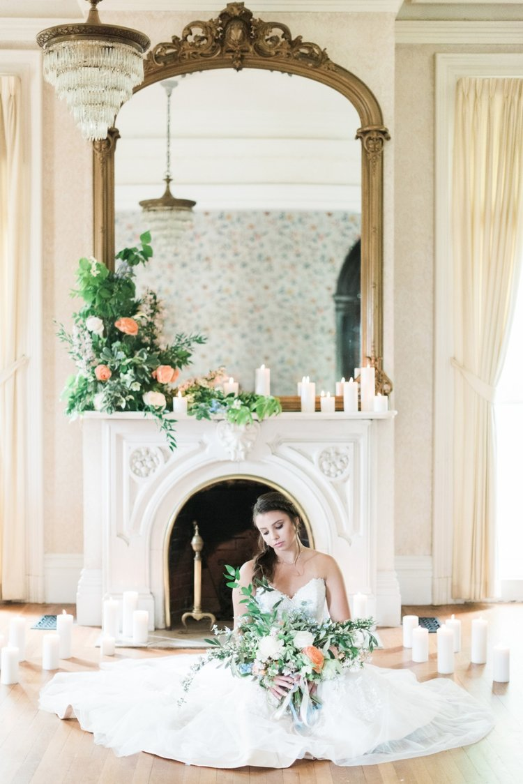 wedding mantle flowers peach white greens candles bride bridal bouquet.jpg