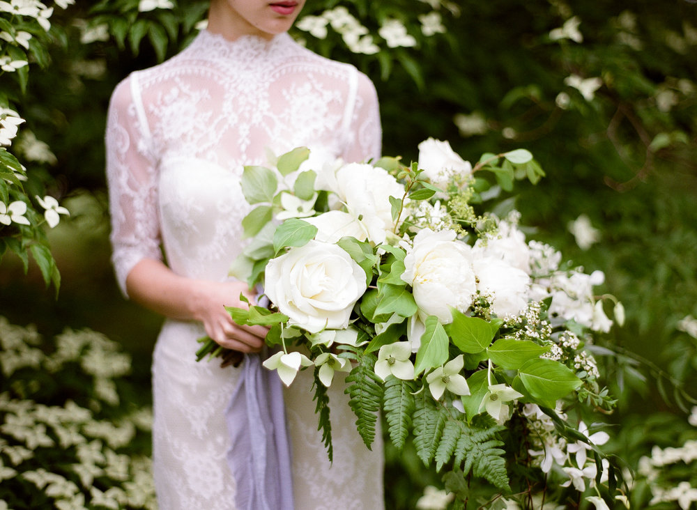 wedding bride bridal bouquet whites greens roses peonies ferns.jpg