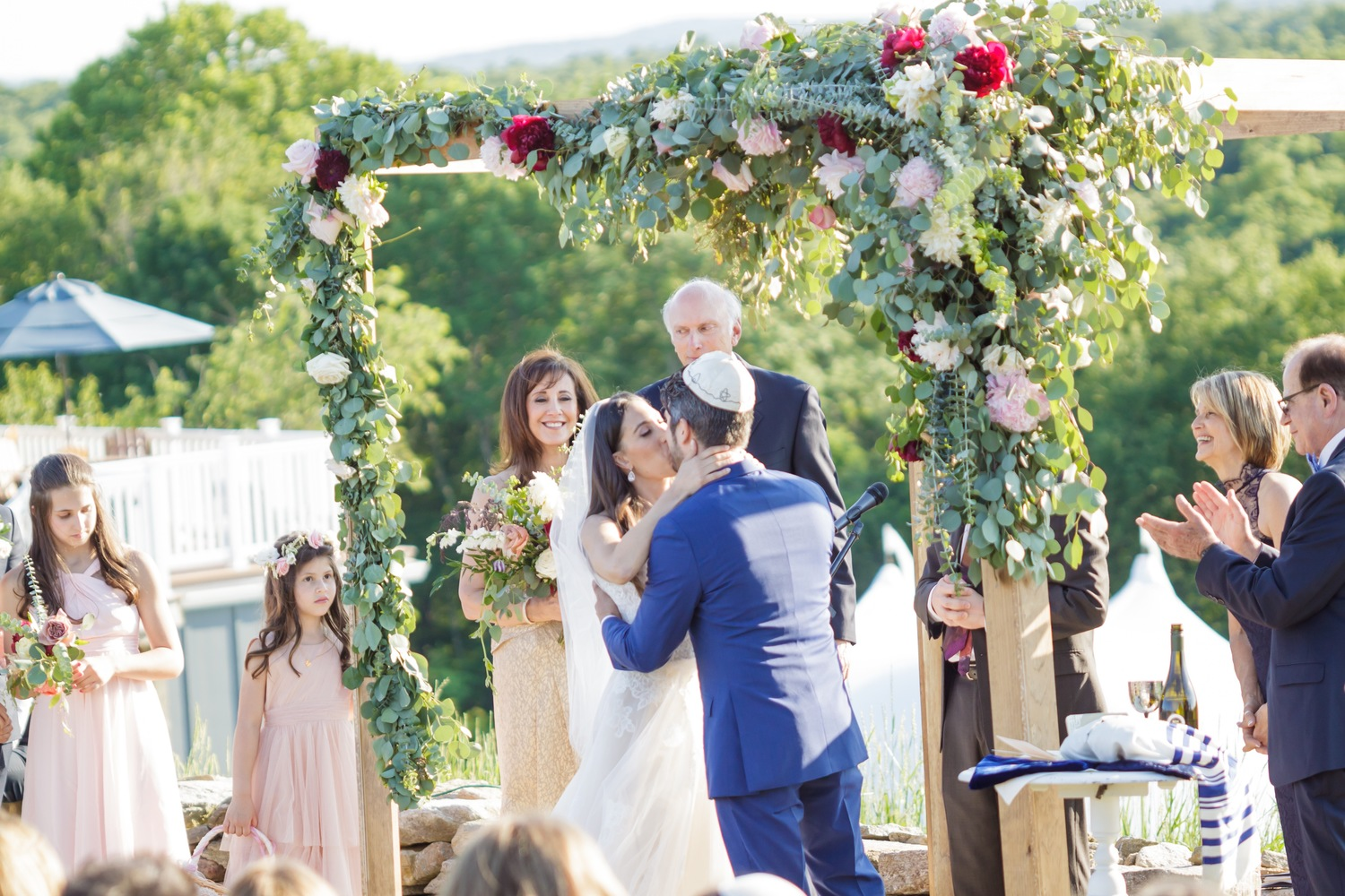 Preston Ridge Vineyard wedding ceremony chuppah arbor floral pink maroon greens eucalyptus.jpg