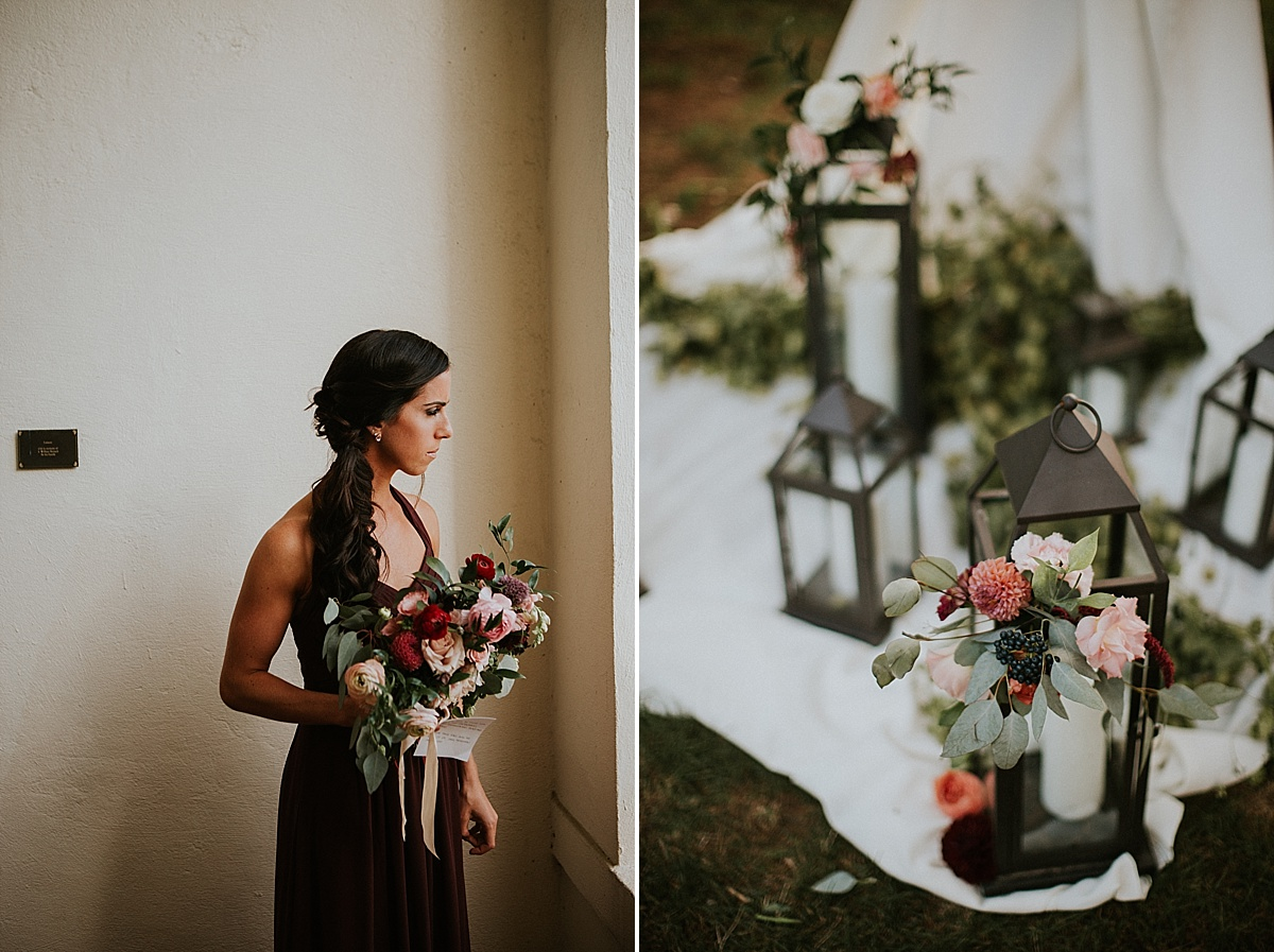 Wadsworth Mansion wedding peach maroon lanterns bridesmaid bouquet.jpg