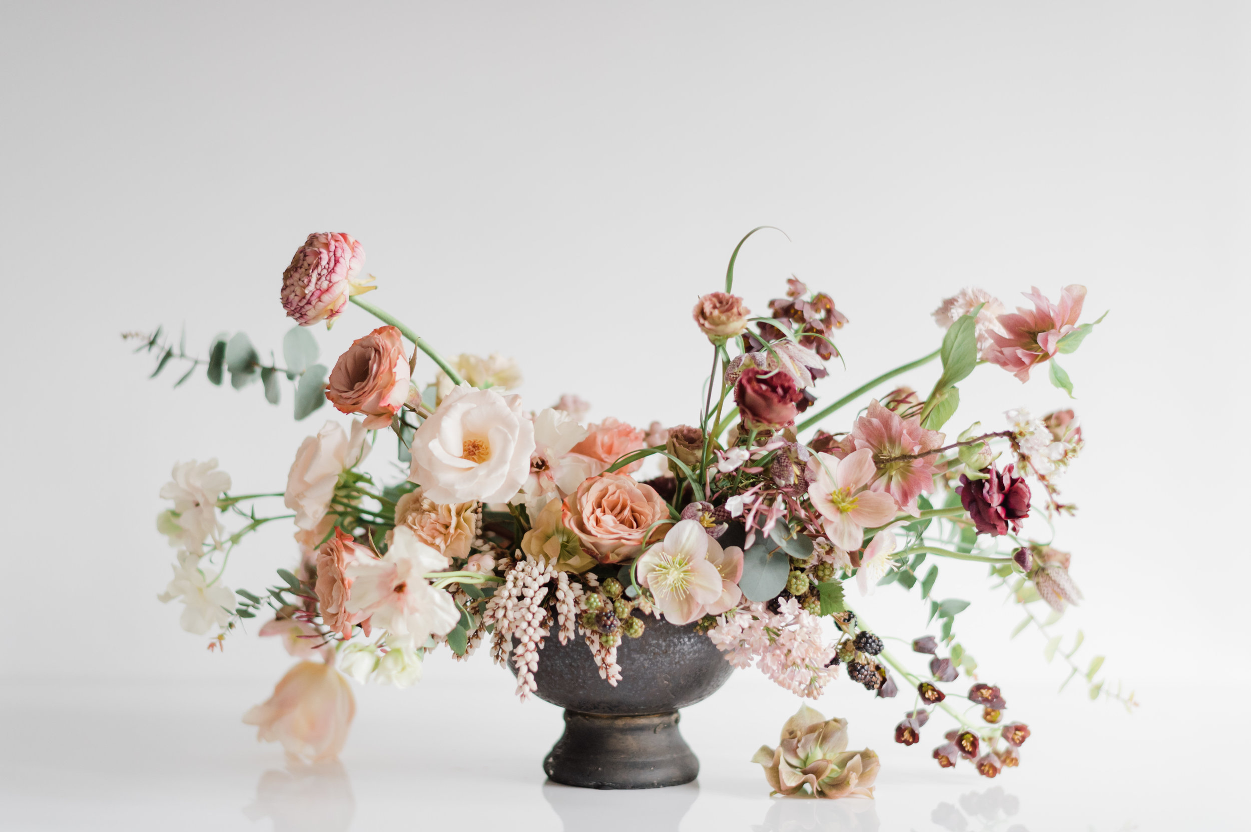 Kristen+Honeycutt+Photo+Co.centerpiece compote blush red pink lisianthus roses hellebore.jpg