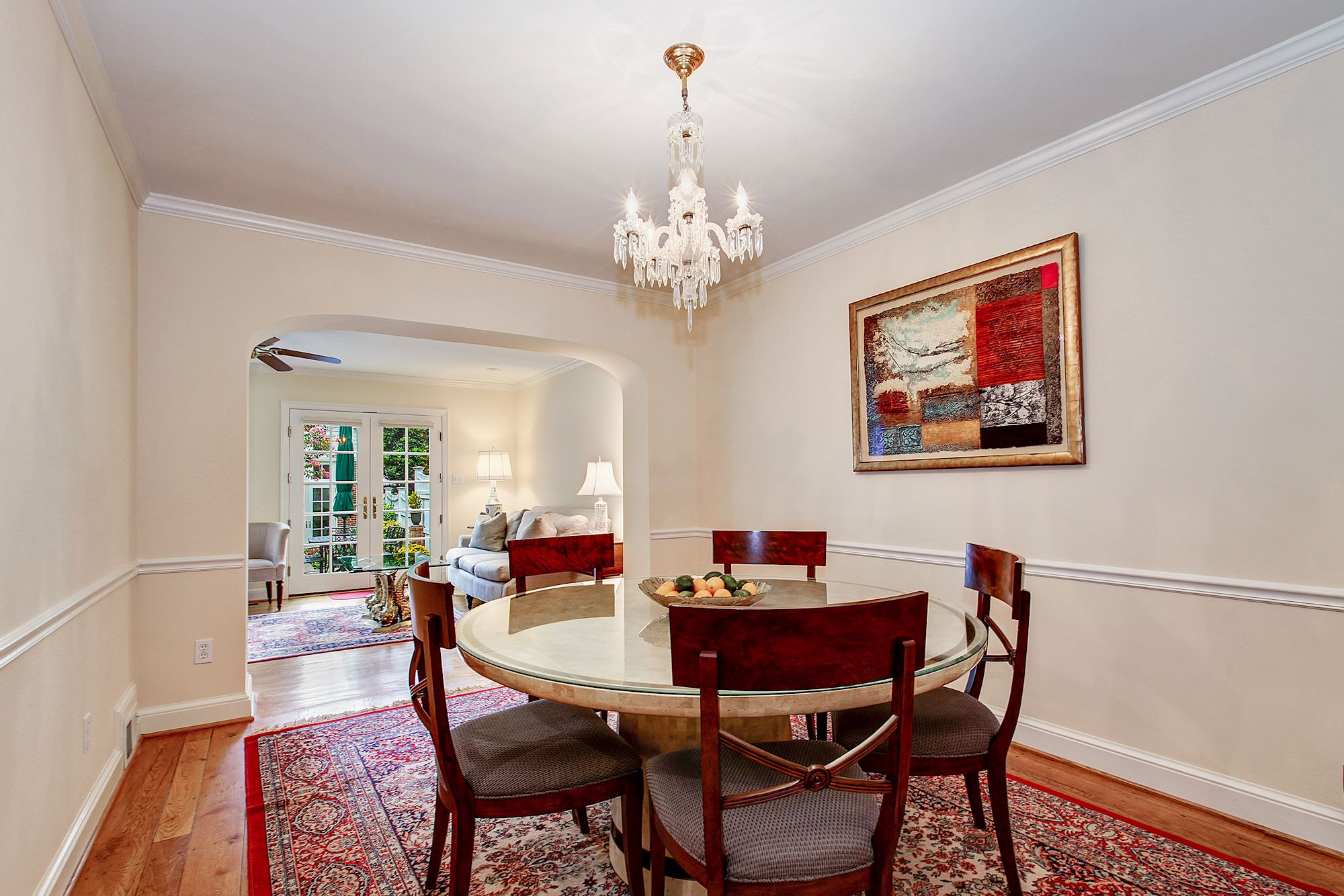 Dining Room with Orginial Chandelier