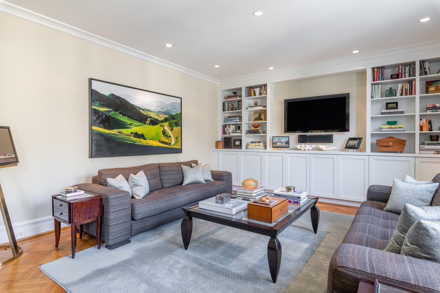 Spacious Family Room features Media Built-ins