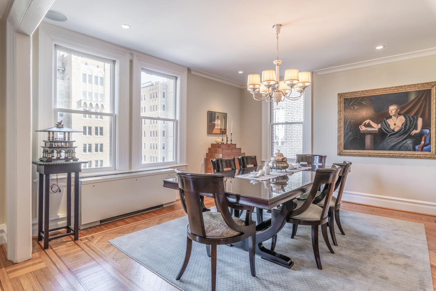 Formal Dining Room with views of distinguished architecture