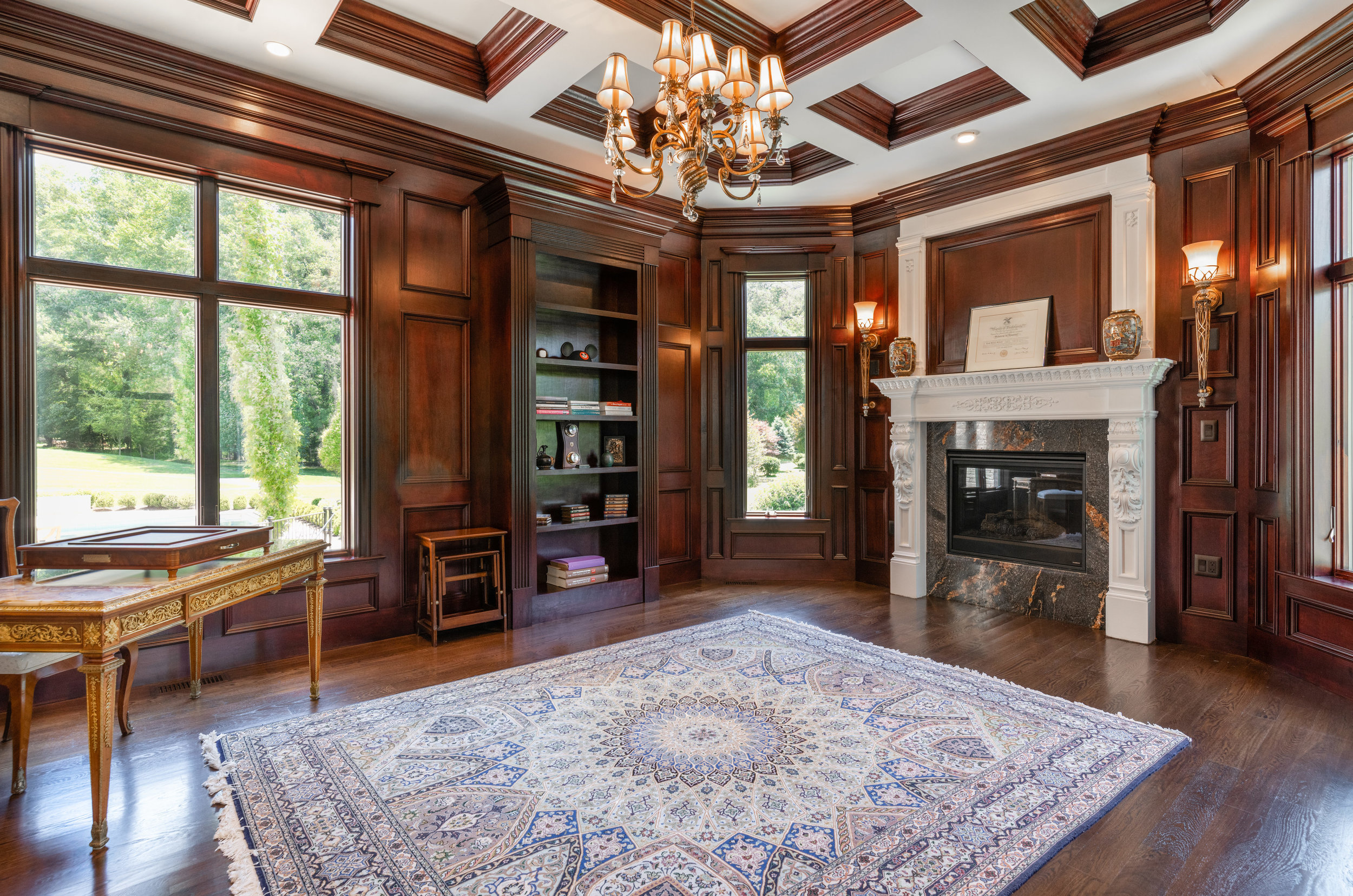 Paneled Library with Gas Fireplace and built-ins