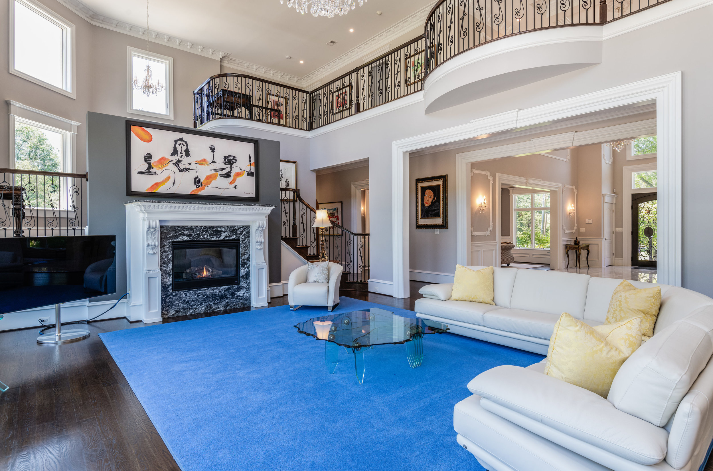 Family Room features soaring ceilings