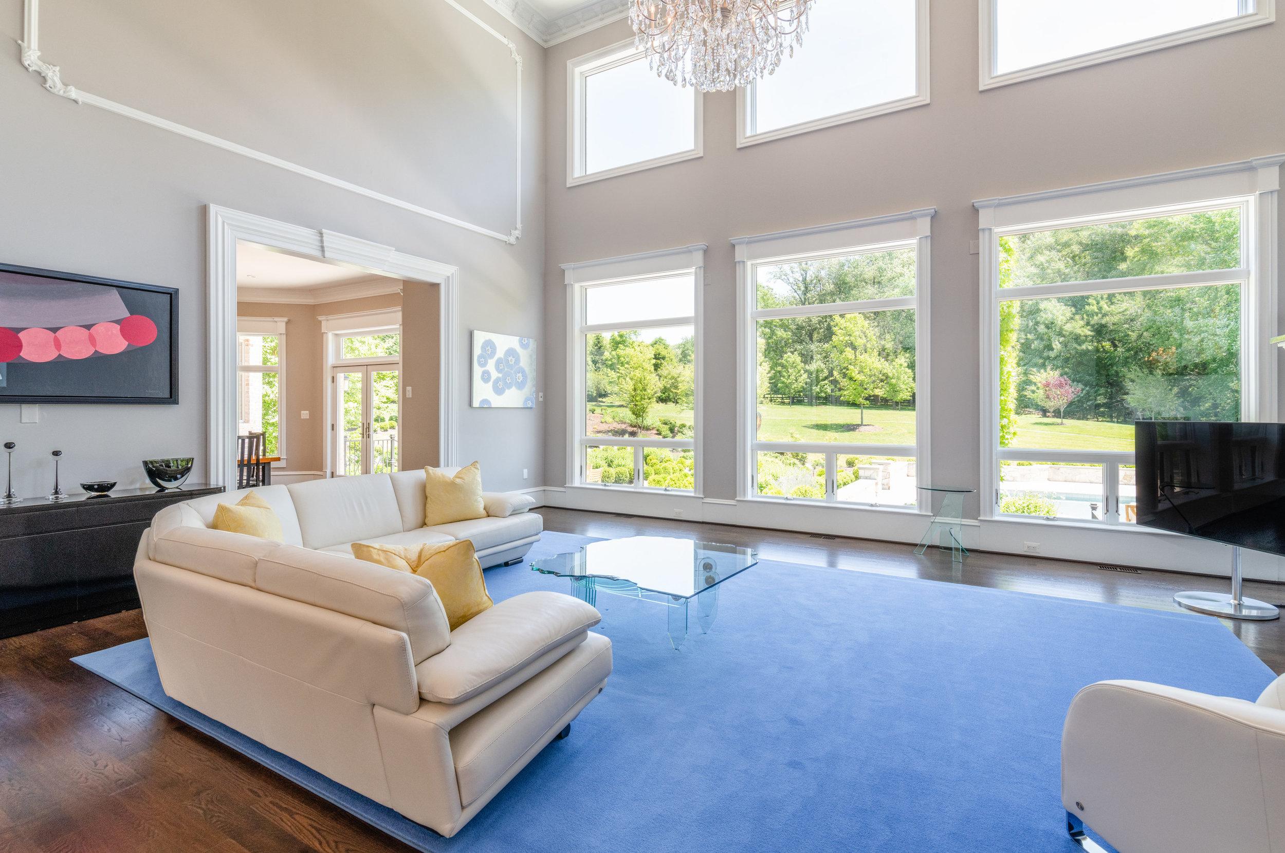 Family Room overlooks garden and pool