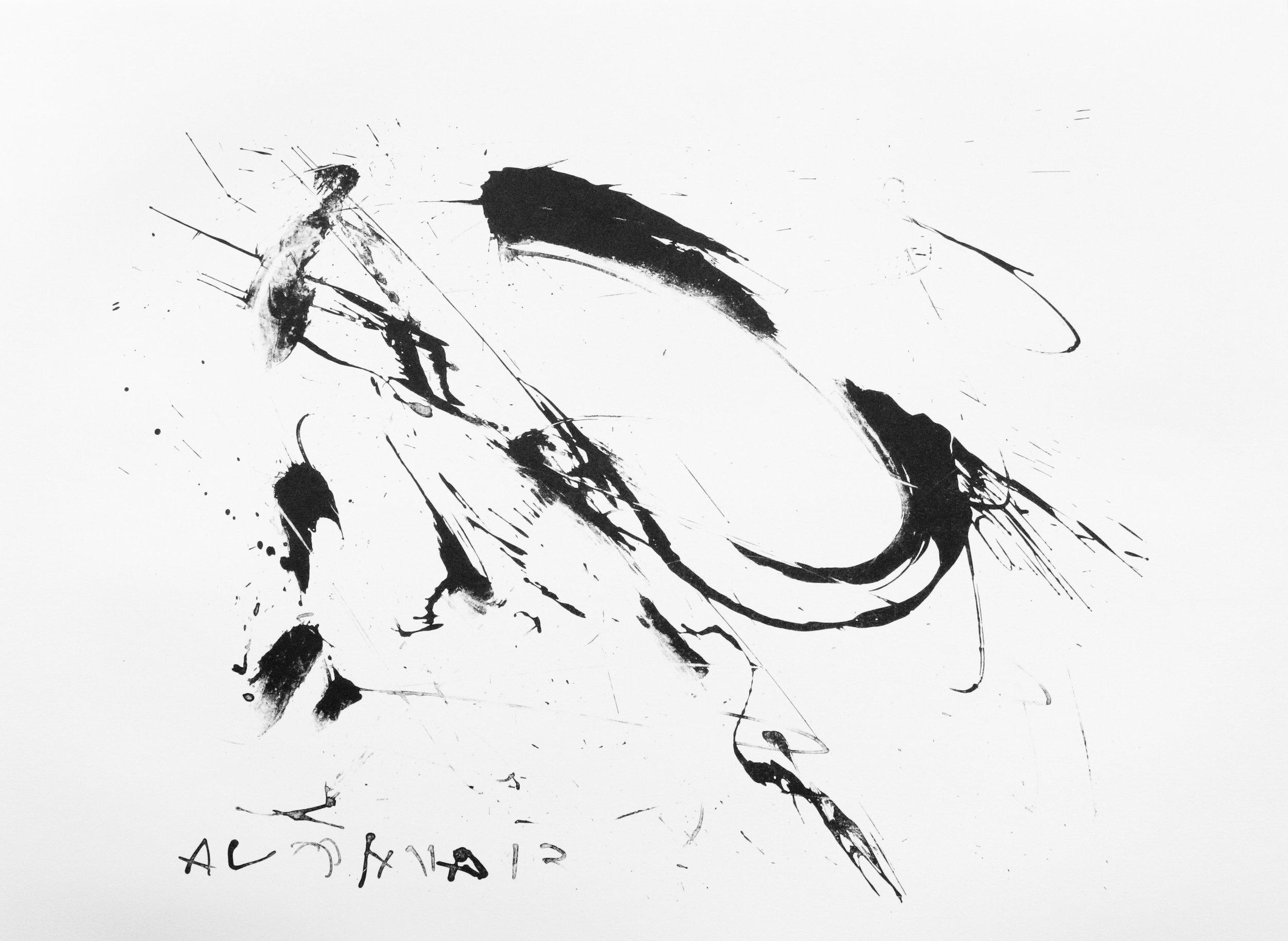 "Sin Título , stone lithograph,22"" x 30"",2016."
