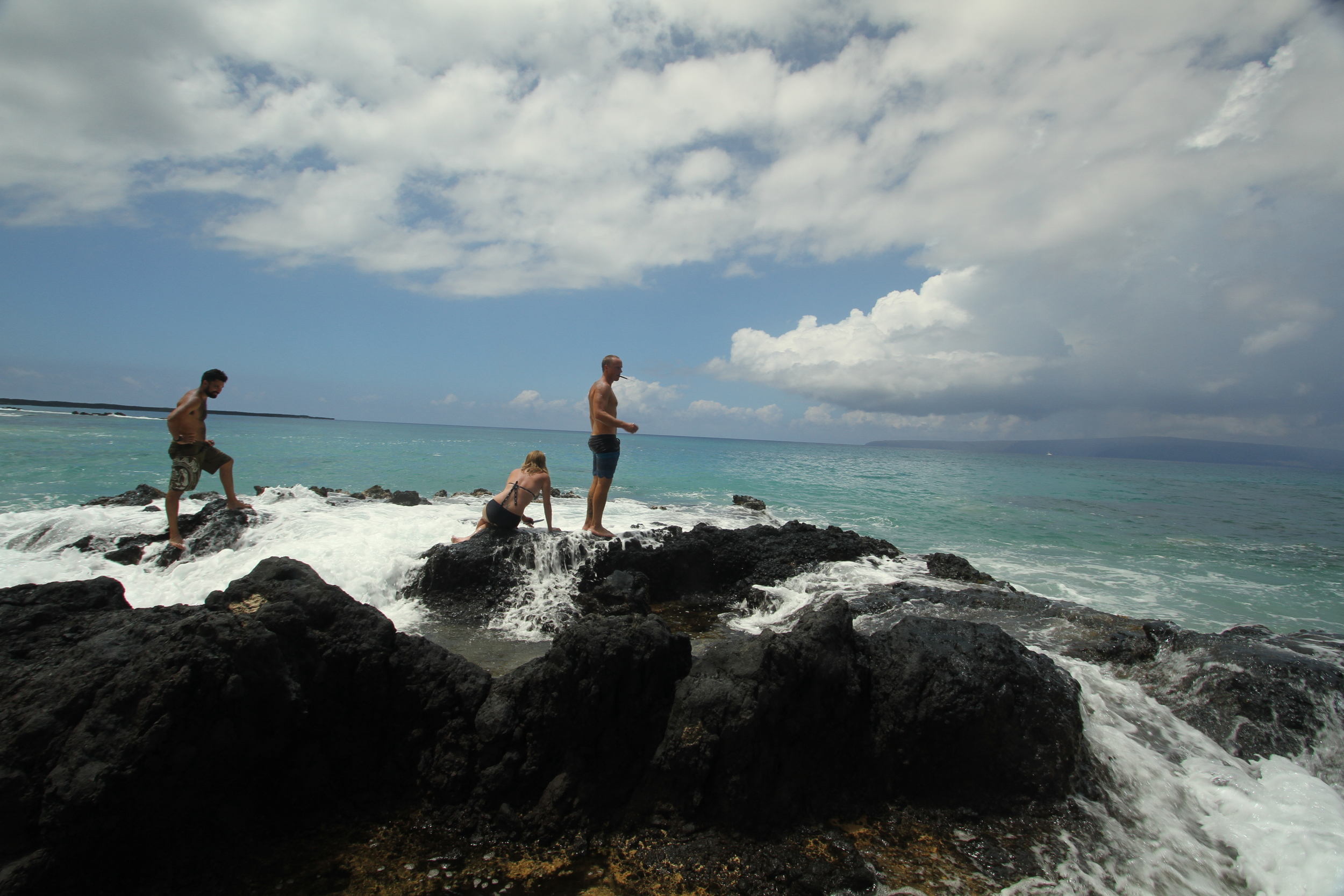 The guys & I waiting for the waves to give us room to forage. Notice their confidence!