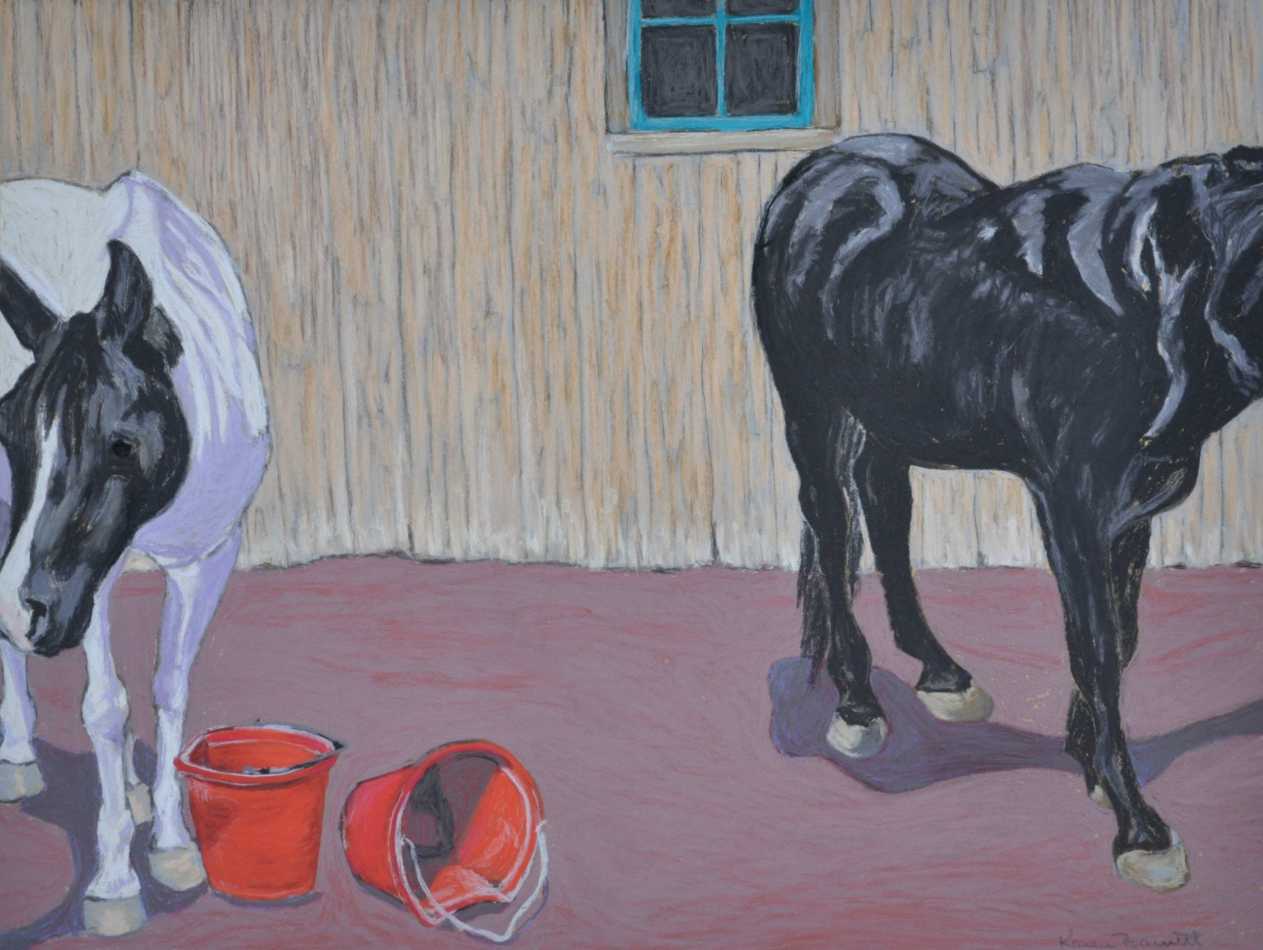Horses with Red Buckets
