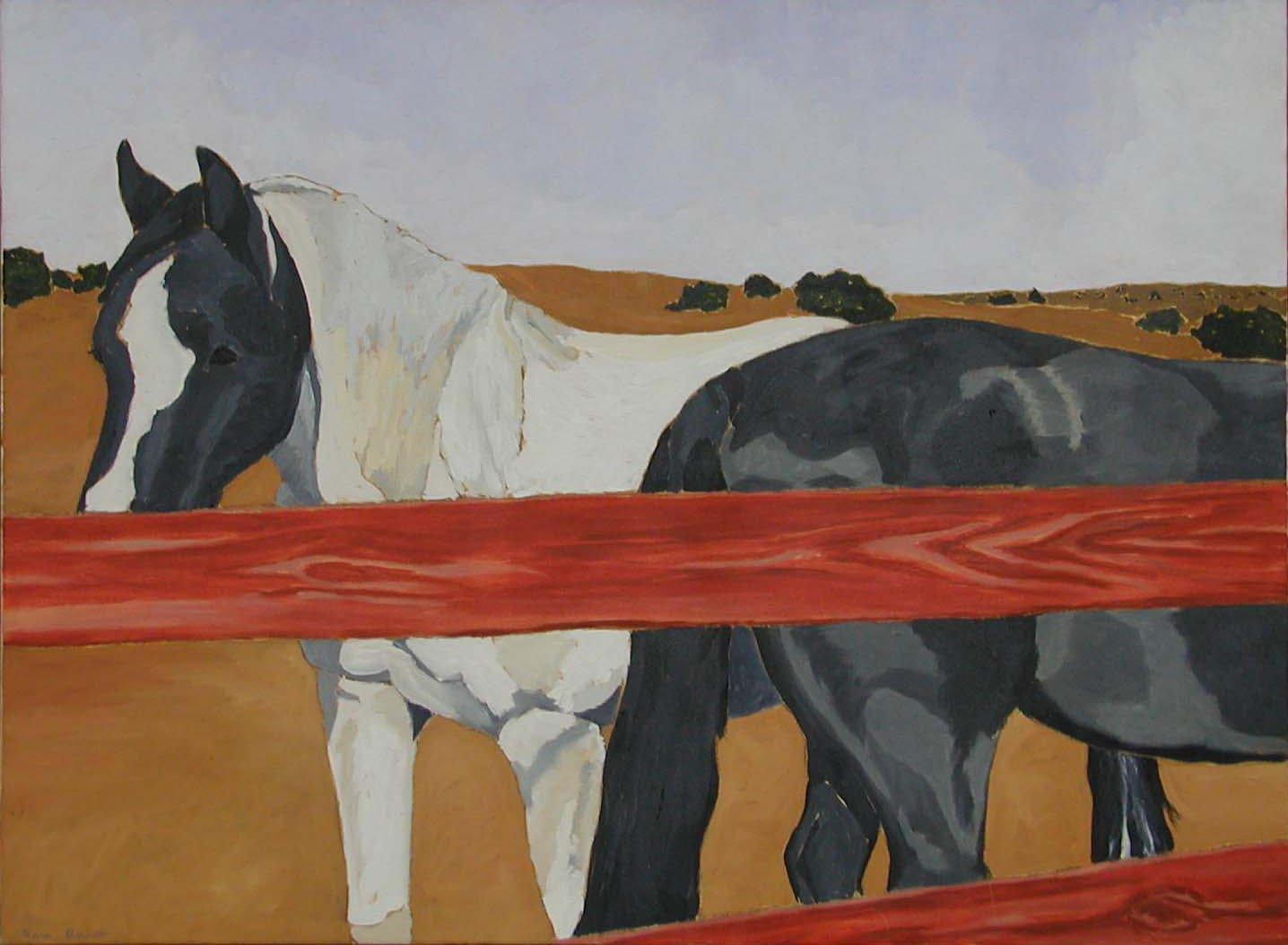 Two Horses, Red Fence