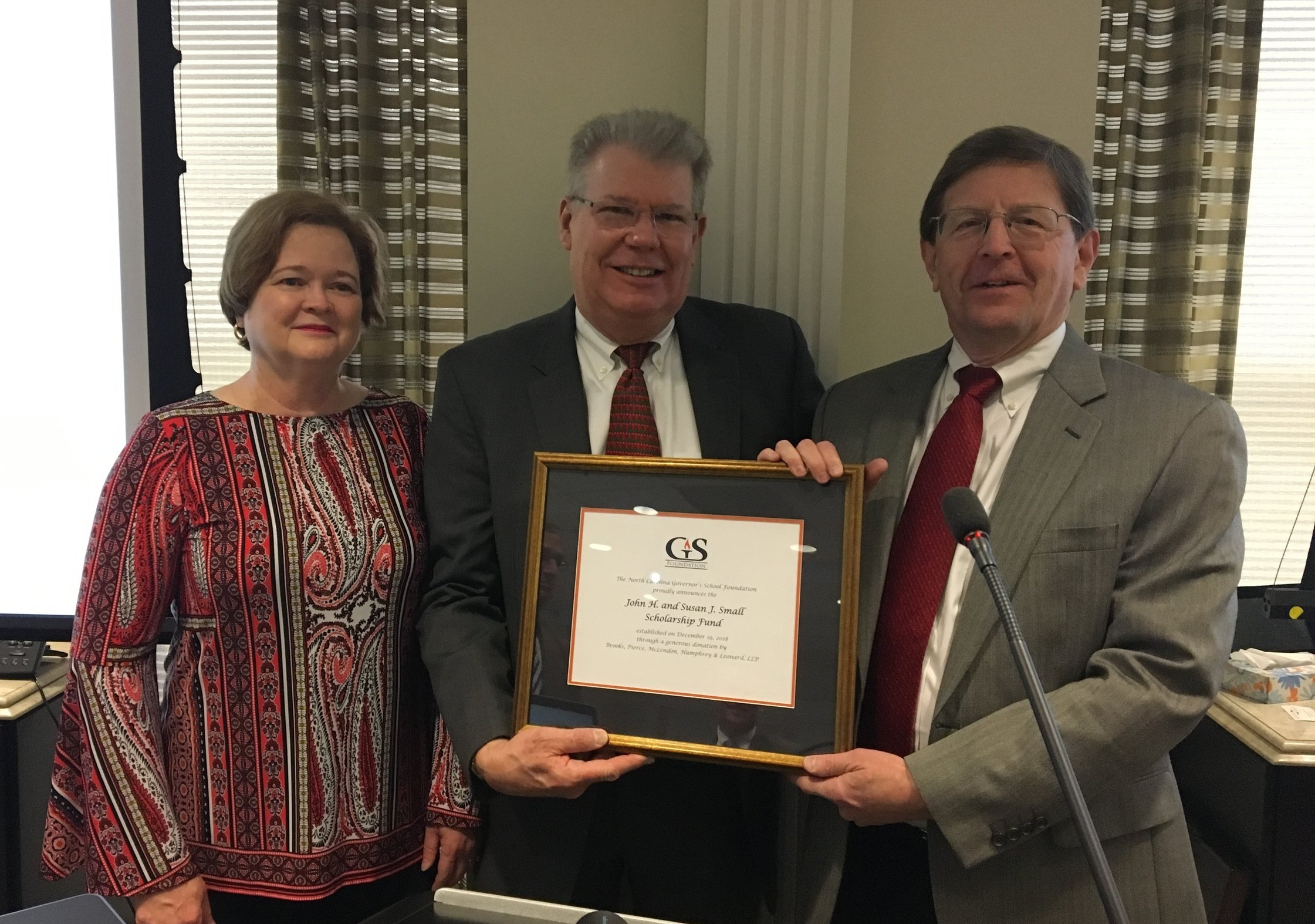 From Left to Right: Susan Small, John Small and Scott Gayle (past president of the NC Governor's School Foundation).
