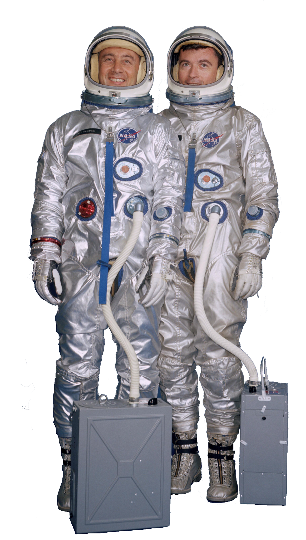 "Virgil I. ""Gus"" Grissom (L) & John W. Young (R). Click to enlarge"