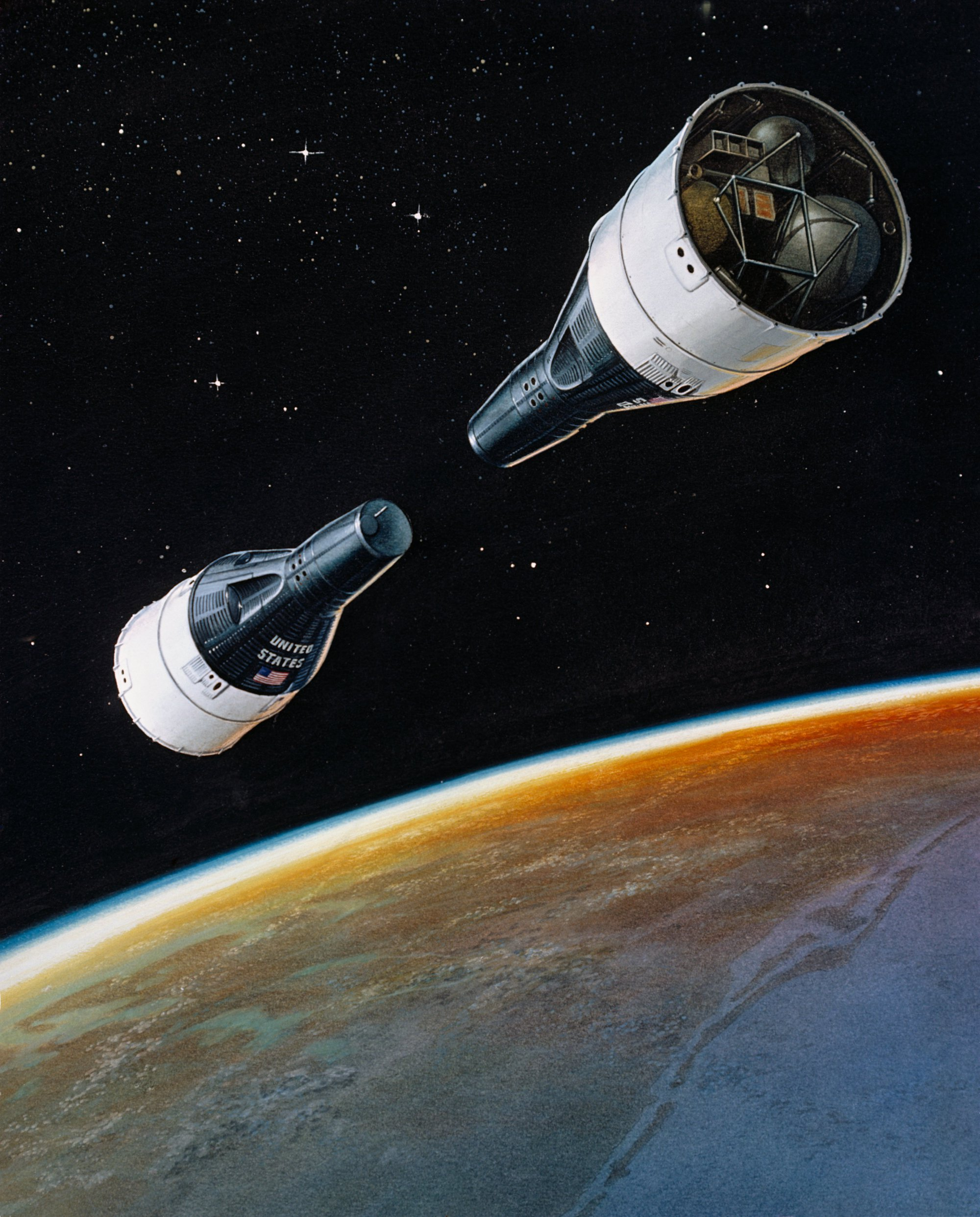 Artist concept depicting the approximate positions which the GT-VI-A and GT-VII Spacecrafts will be oriented at the terminal phase of their rendezvous mission.