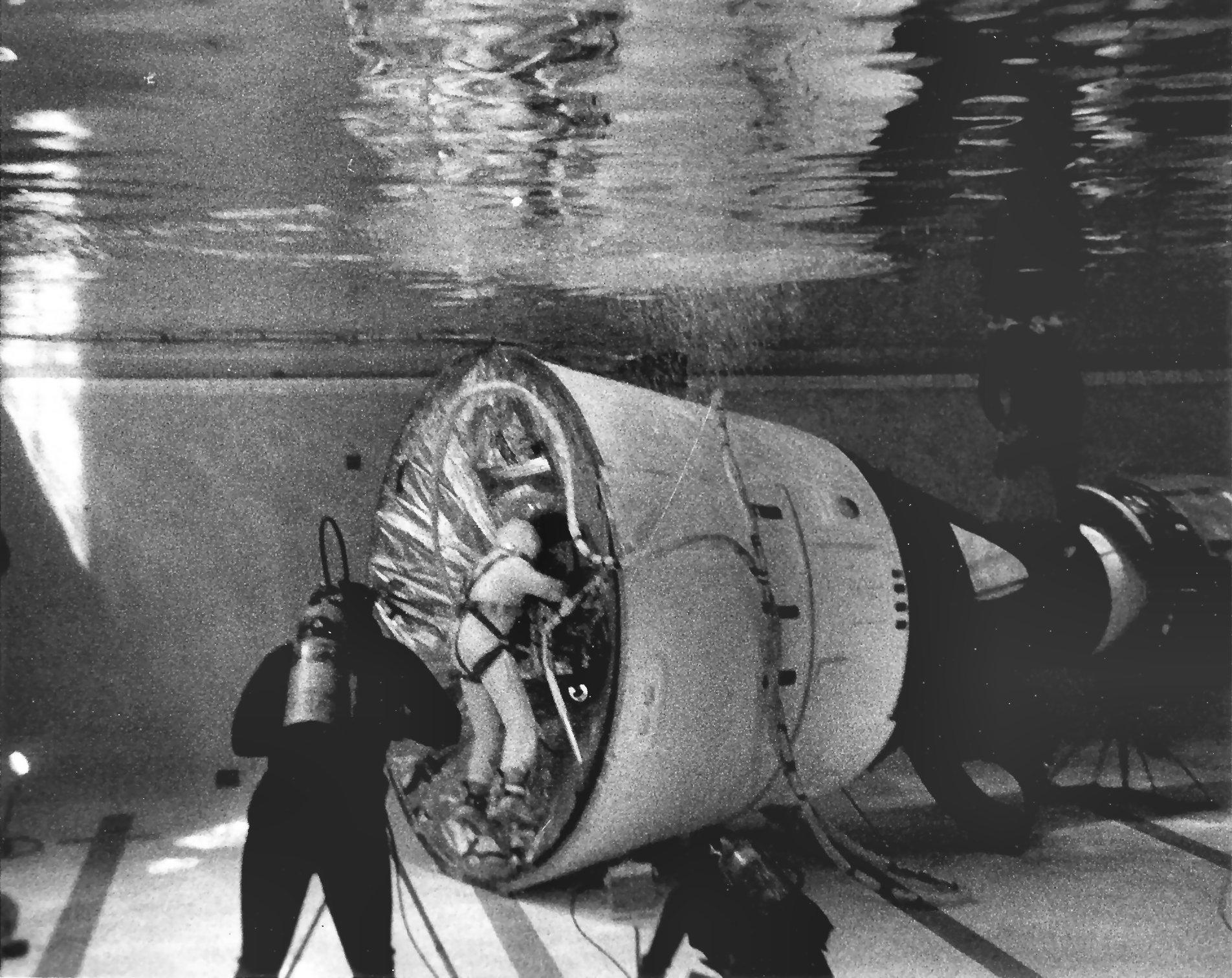 Buzz Aldrin trains for his EVAs in the Neutral Buoyancy Simulator pool. Photo credit: NASA