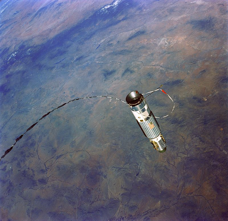 Gemini XII's Agena Target Vehicle, attached via tether during gravitational experiment. Photo credit: NASA