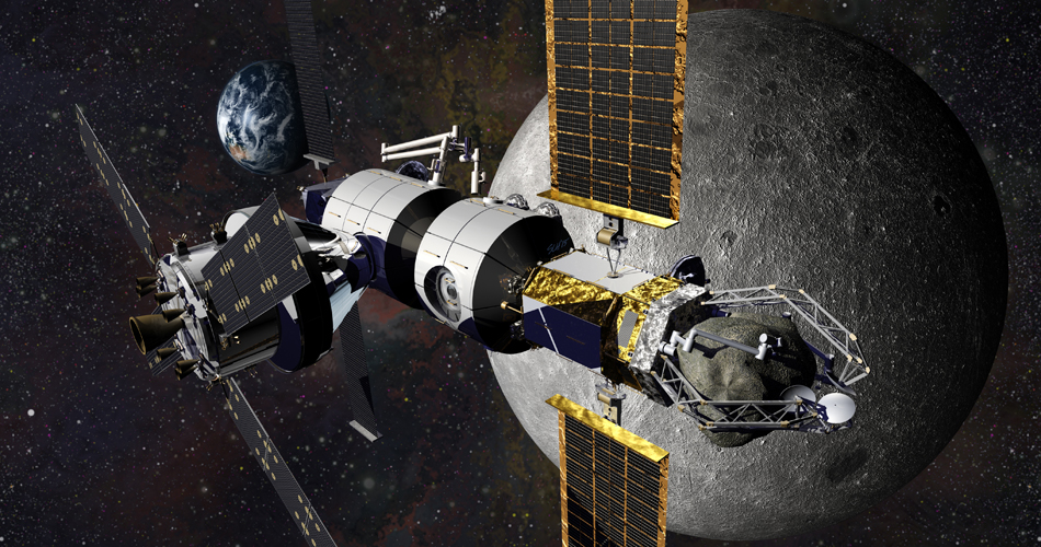 Orion docked to Lockheed Martin's Cislunar Habitat module concept. Image courtesy of  Lockheed Martin .