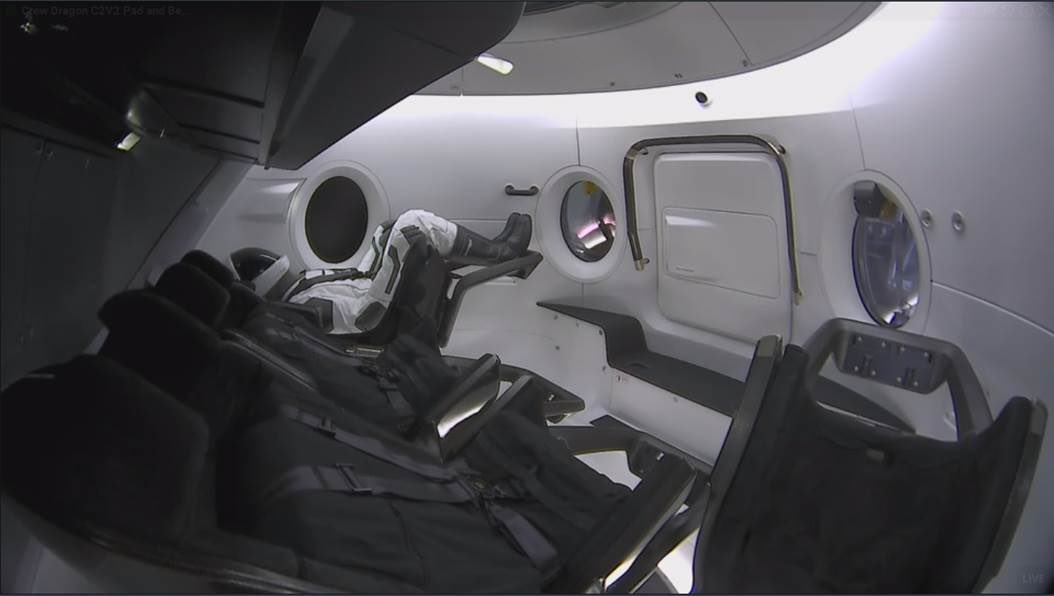 """Anthropomorphic Test Device, """"Ripley"""" sits aboard Crew Dragon awaiting liftoff. Image credit: SpaceX"""