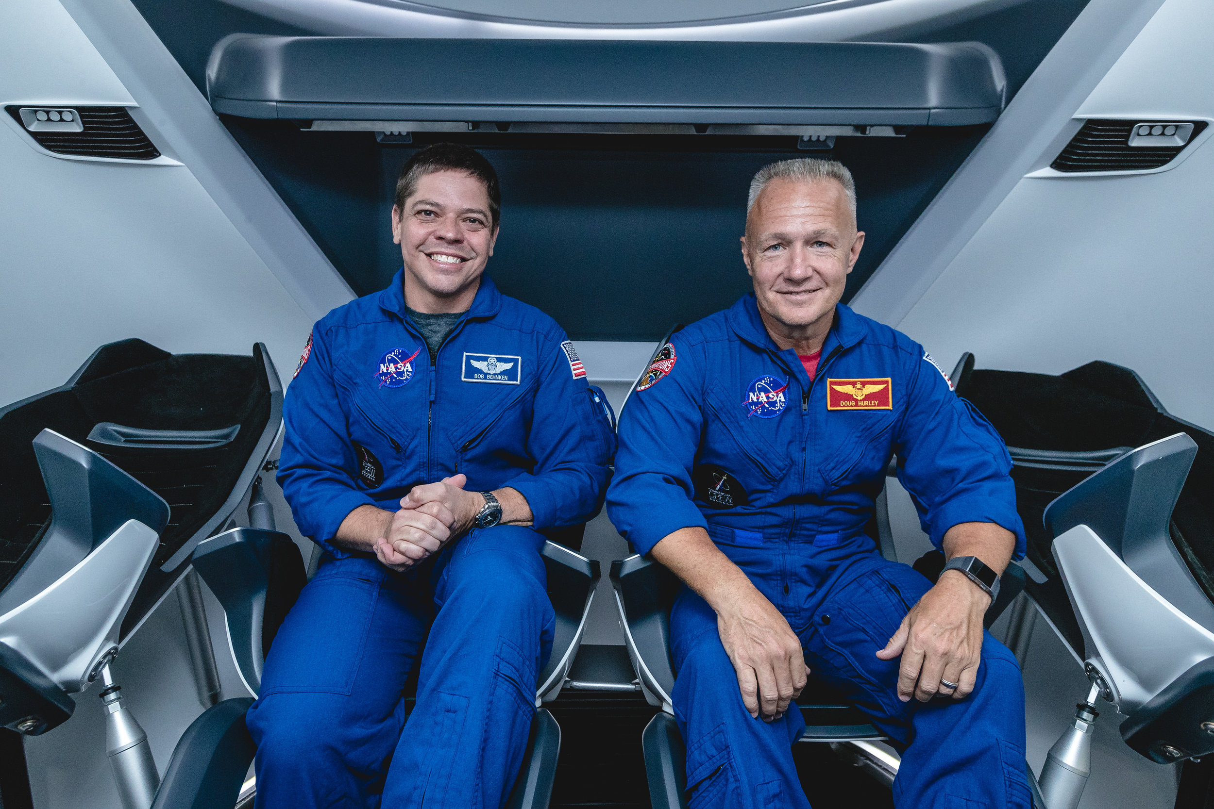 (left to right) NASA Astronauts Bob Behnken and Doug Hurley. Image credit: SpaceX