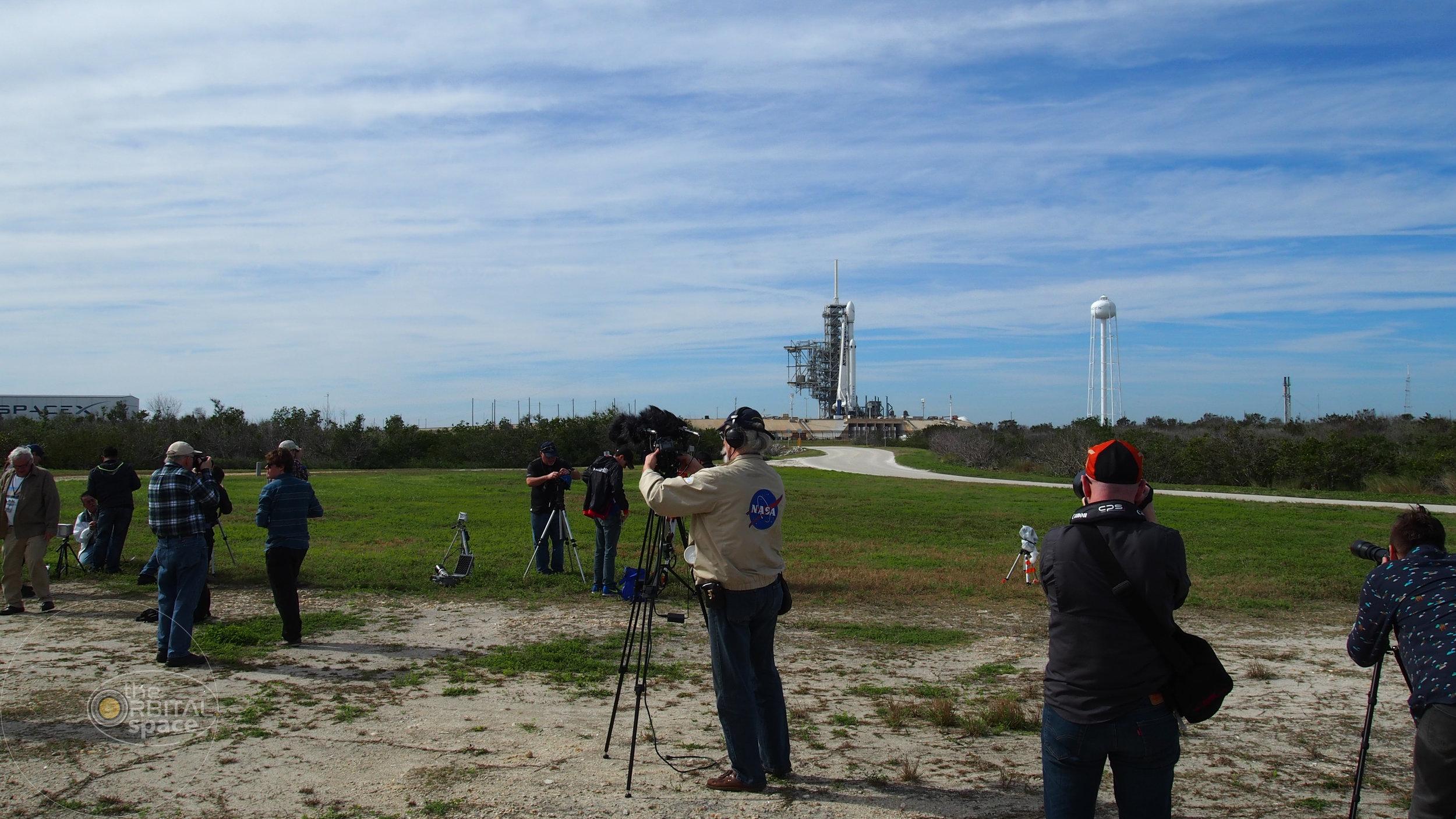 Press photograph Falcon Heavy prior to launch