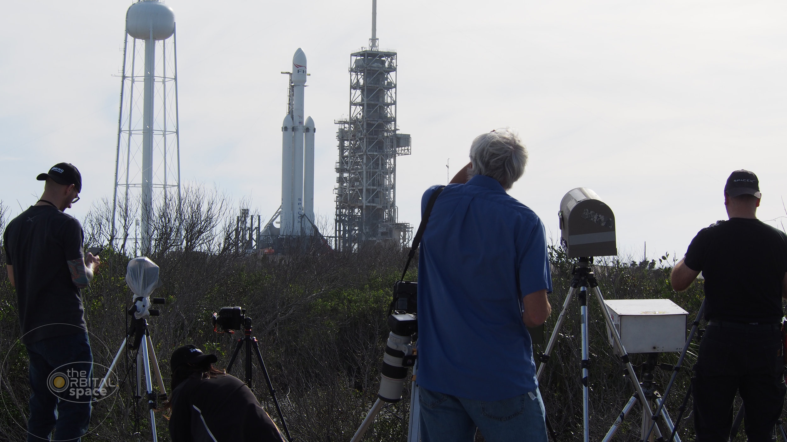 Photographers set up cameras for Falcon Heavy - North of LC-39A
