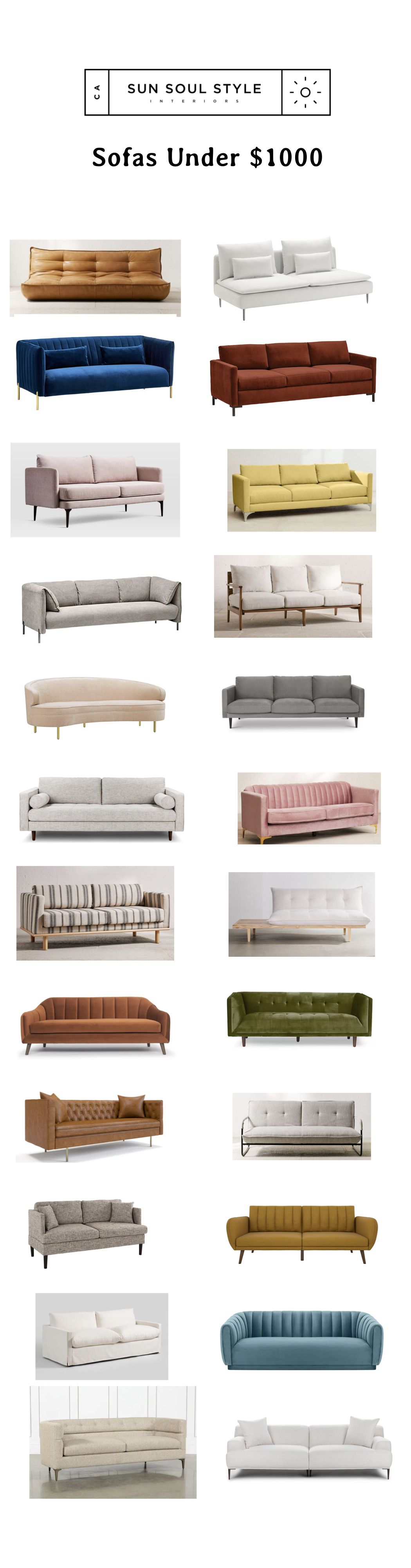 From top, left to right:  Greta Recycled XL Sofa via Urban Outftters  $879 //   SÖDERHAMN sofa via IKEA  $599 //   Rivet Frederick Velvet Sofa via Amazon $899  //  Rivet Edgewest Modern Sofa via Amazon $899  //  Auburn Sofa via West Elm $69 9 //  Chamberlain Sofa via Urban Outfitters $898  // R ivet Cyprus Sofa via Amazon  $899 //  Peyton Sofa via Urban Outfitters $898  //  Velvet Upholstered Curved Sofa via Amazon $937.85  //  Lacey Sofa via All Modern  $799 //  Sven Sofa $999 via Article  //  Marcella Velvet Sofa via Urban Outfitters  $799 //  Quinn Striped Sofa Via Urban Outfitters  $799 //  Reid Side Table Convertible Sofa via Urban Outfitters  $749 //  Velvet Sofa via AllModern  $773 //   Ferrao Chesterfield Sofa via AllModern  $639.99 //  Middleborough Sofa via AllModern  $739.99 //  H ayes Sofa $599 via Urban Outfitters  //   Modern Upholstered Loveseat Couch via Amazon  $249.99 //   Brittany Futon via Amazon  $279.99 //  I vory Feather Filled Brynn Sofa via World Market   $899.99 //  Alexus Sofa via All Modern  $969.99 //   Matteo Estate Sofa via Living Spaces  $895 //  Abisko Frost White Sofa  via Article $899