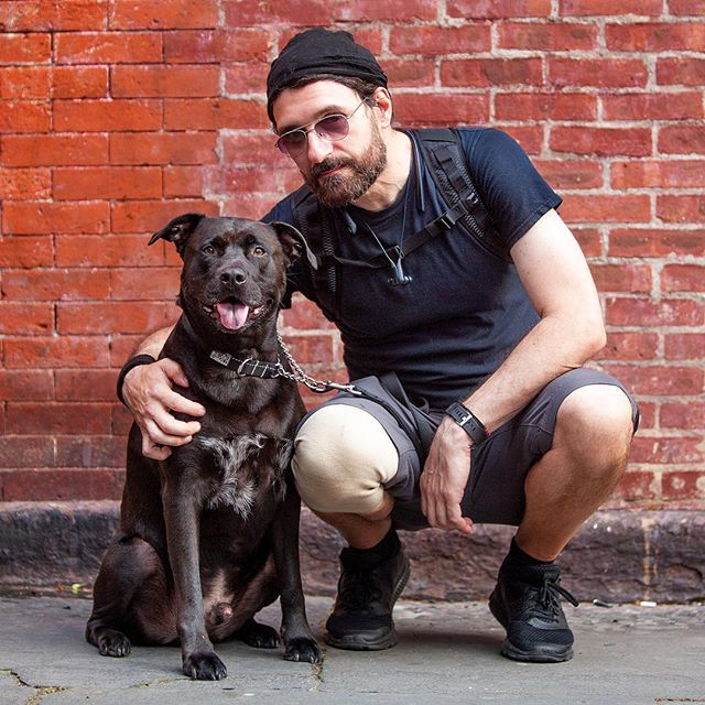 "Pete + Bubs ""He's a Pit Bull rescue.  He got me into training and walking, because of Bubs my love of dogs went through the roof!"" #humanandhound"