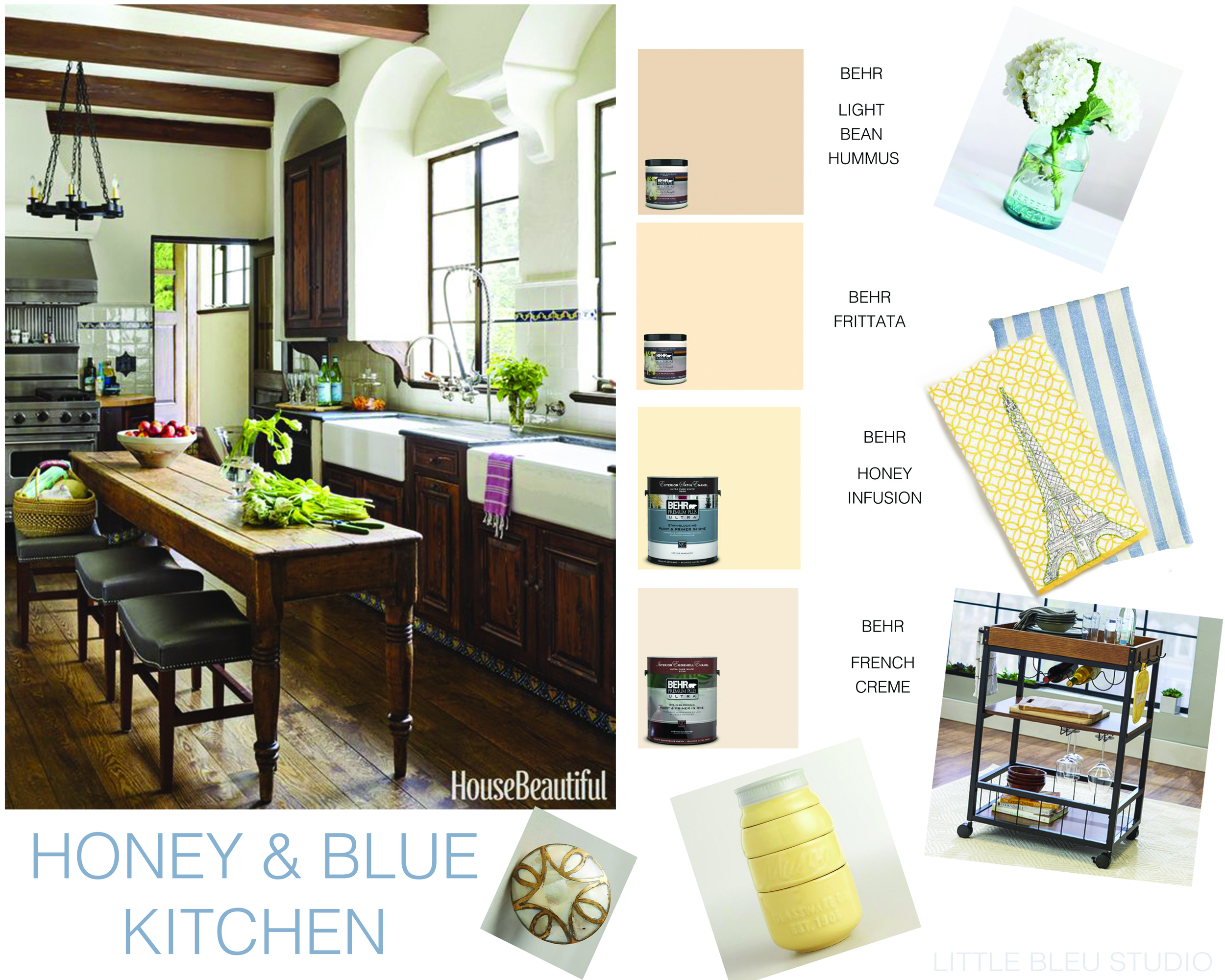 "I really want a light color for the kitchen, but I still want it to ""go"" with the backsplash and everythign that I already have, so i'm trying to find a pretty, washed-out shade of yellow, and i'll accent it with blue(that way I can use hydrangeas!!)"