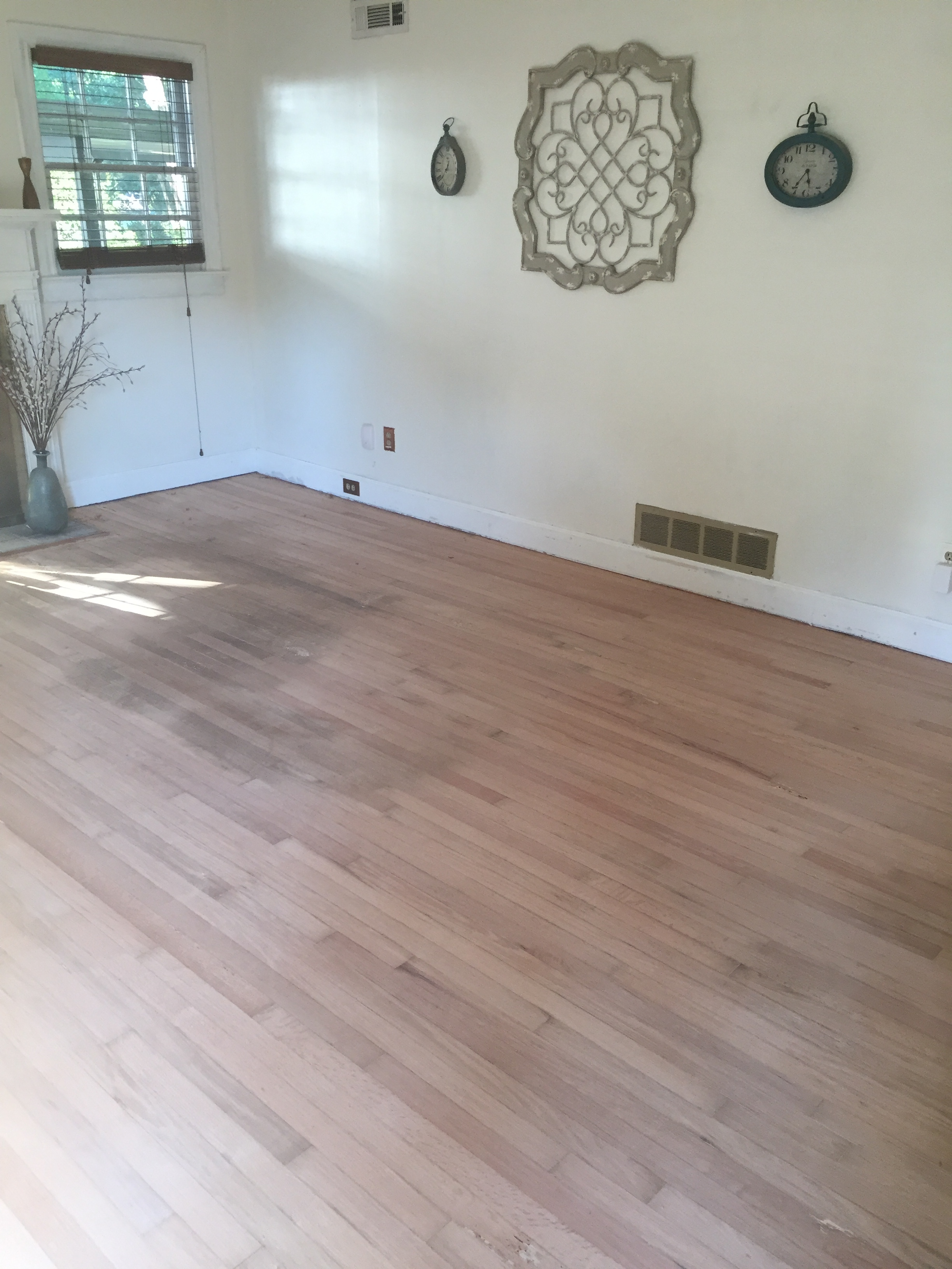 Living Room with newly sanded floors!