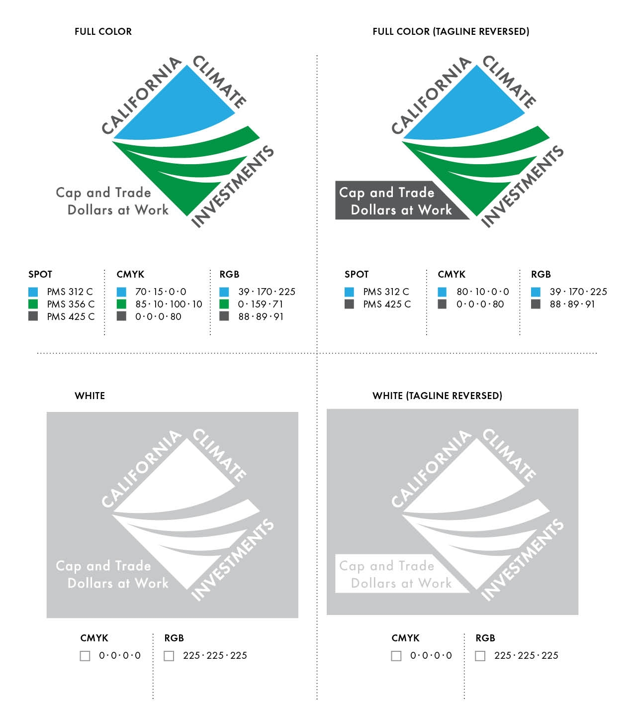 four panel depiction of available logo versions featuring different designs and color schemes..