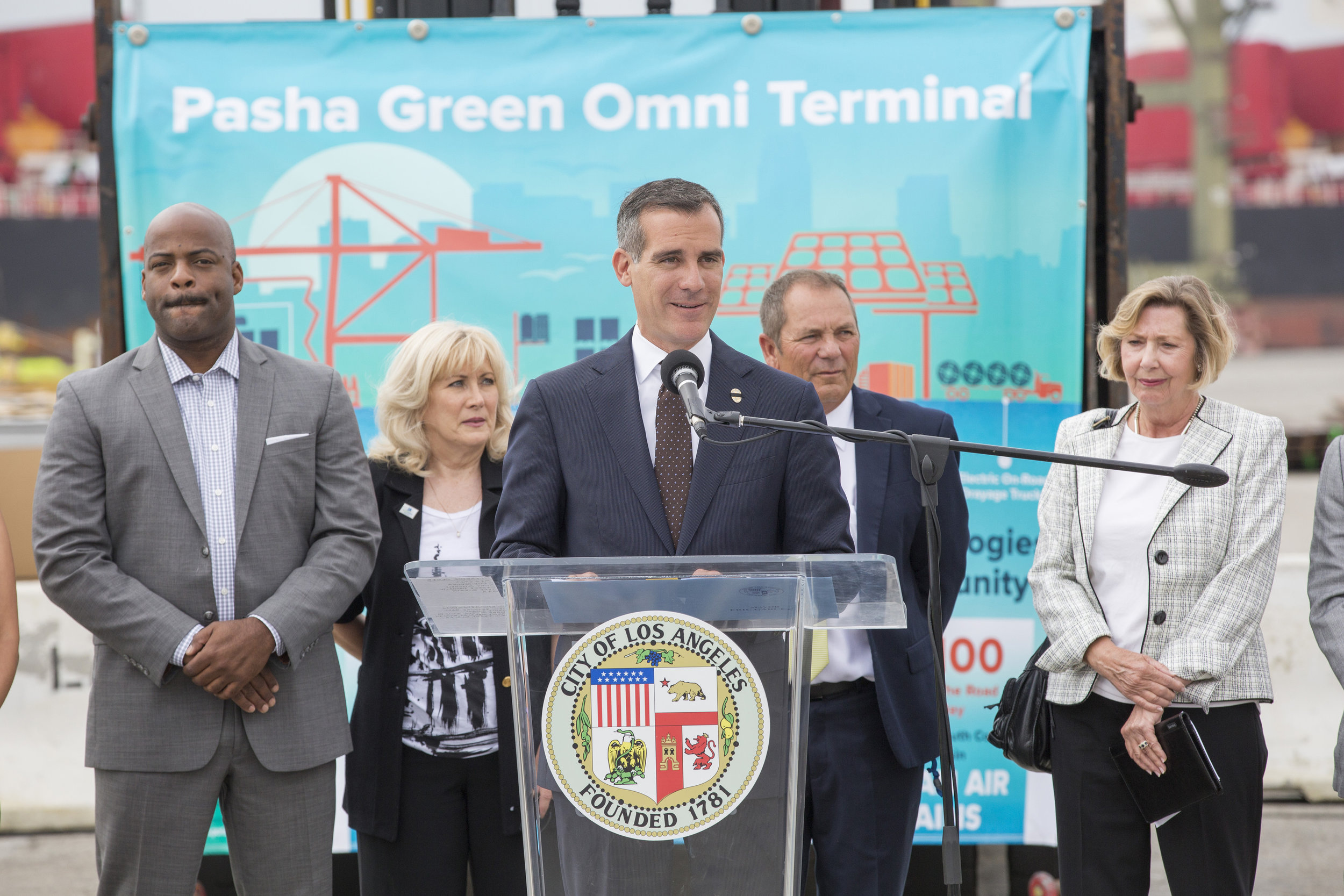 LA Mayor Eric Garcetti speaks at an event celebrating the launch of the Green Omni Terminal Demonstration Project