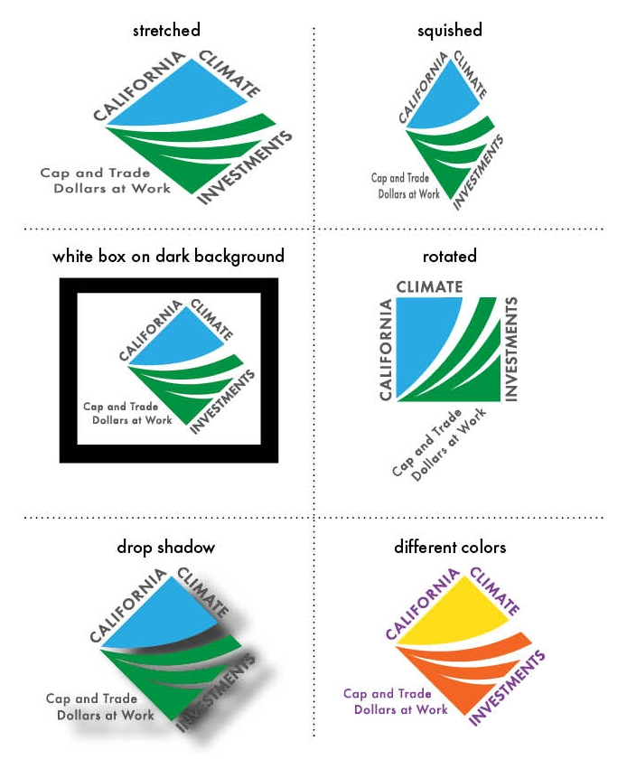 Six panel depiction of misuses of the logo, including incorrect dimensions, orientation, and color schemes.