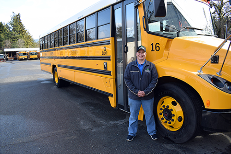 Driver and zero emission school bus