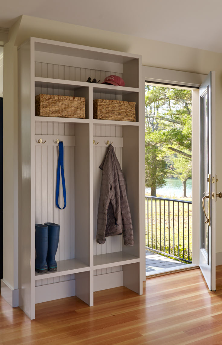 NEW MEADOWS RETREAT  Mudroom with door to water-side deck