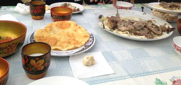 Our Kazakh friend Madi, took us out for a traditional Kazakh meal which included fermented mare's milk, camel milk, and horsemeat in noodles (Yumm).
