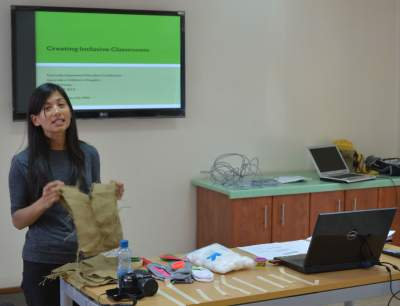 Our special educator professional, Sharlene, made her own props.