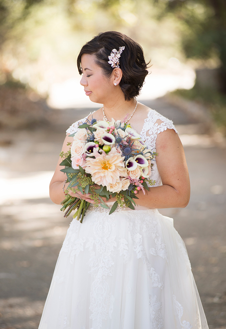 Such soft light and colors, totally fitting for her very demure & wonderfully sweet personality :) .Bouquet by:   Fanny's Flowers