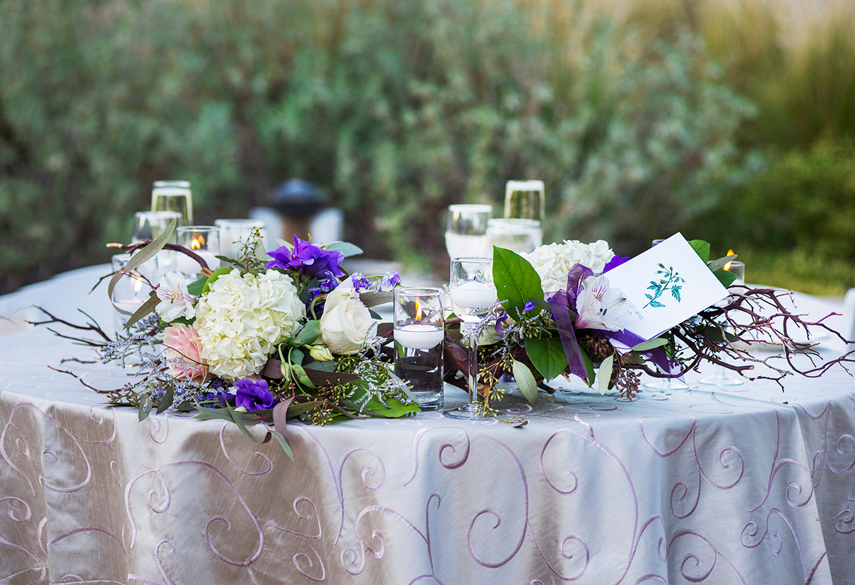 """And of course, the sweetheart table had """"   American Sweetheart   """" :) . The beautiful table arrangements were created by   Iron Heart  !"""