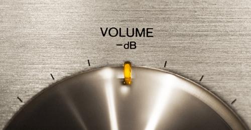 Closeup photo of volume decibel dial