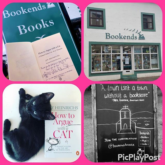 """Here's one on me -""""How To Argue With A Cat: A Human's Guide To The Art Of Persuasion"""" -I've signed a book & left it in @bookendskeswick for you. First one to get there gets it FREE👍 (when It's gone it's gone) Nat 😊#HowToArgueWithACat #Keswick #bookendsbookstore #bookends #LakeDistrict #Book #BookWorm #cats #cat #lakedistrict #lakedistrictuk #keswickvillage #bookcat #bookstagram #bookshop #books #reading #readingcat #booksandcats #catsandbooks #keswickconvention #derwentwater #derwentriver #castlerigg #castleriggstonecircle"""