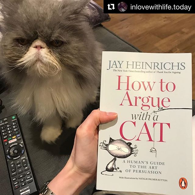 #Repost @inlovewithlife.today ・・・ If you can purr-suade a cat, you can persuade anyone 😸 #theartofpersuasion #jayheinrichs #currentread #bookoftheday #growyourmind #mindset #persuasion #artofpersuasion #summerreading #catsandbooks #booksandcats #bookstagram #howtoarguewithacat #cat #cats #meow #neko #chats #teachersofinstagram #middleschoolteacher #middleschoolenglish #highschoolteacher #teach #bookworm #booklover #catlover #beautifulcat