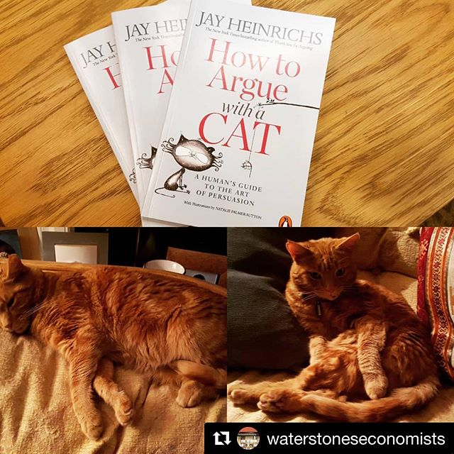 #Repost @waterstoneseconomists  Rhetorician and persuasion guru Jay Heinrichs shows you how to win over anyone 'even the most stubborn feline adversaries' ・・・ @jayheinrichs #booksandcats #howtoarguewithacat #bookstagram @lse_ppe @lsesu @kclsu #waterstoneseconomists #theeconomistsbookshop #artofpersuasion #books #catsofinstagram #cats #cat #book #booksandcats #catsandbooks #howtoargue #bookshop #lovebooks #teacher #teachersofinstagram #business #businesswoman #teachers #professor #doctor #lawyer #lawyerloves