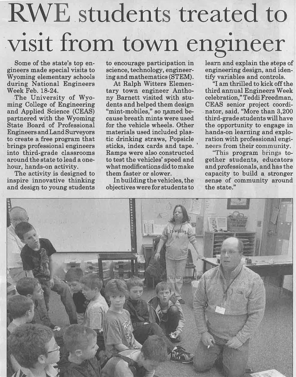 EA's Anthony Barnett visits Ralph Witters Elementary school in Thermopolis to inspire young minds in the pursuit of science!
