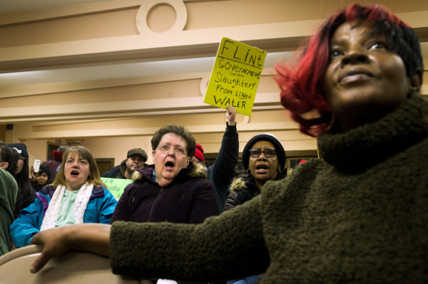 Protesters in Flint, Michigan
